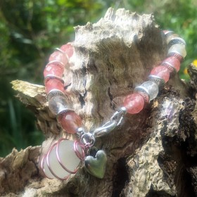 03_Sea stone and cherry Quartz bracelet